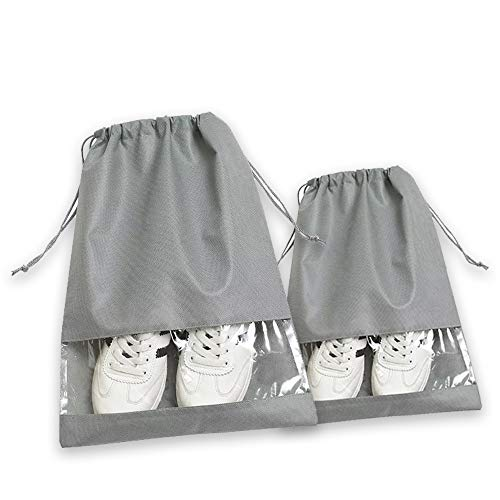 Cyleibe 15 Pcs Shoes Bag, Non-Woven Drawstring Shoes Storage Bags Dust Proof with Clear Window for Home, Travelling, School, Sport - Grey