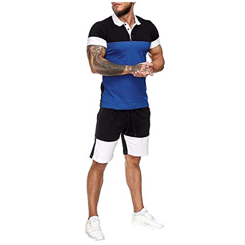 Trainingsanzüge Herren Sportanzug Summer Home Stripe Farbkollision Kurzarm Poloshirt T-Shirts Polohemd Shorts Sportswear-Sets Große Größen Jogging Fitness Sport Dünne Outfit, Blau, X-Large