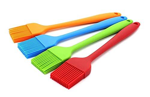 HelpCuisine® 4er-Pack Küchen Silikon Backpinsel/grillpinsel- BBQ Barbecue Pinsel Fleischpinsel Bratenpinsel hitzebeständig Küchenpinsel Kochpinsel in 4 tollen