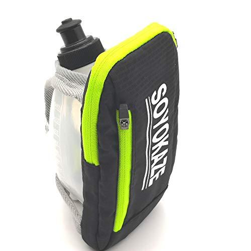 Chenxianyi Hand-Trinkflasche zum Laufen, Laufen, klein, mit Reißverschlusstasche, 250 ml, weiche Sportflasche (schwarz)