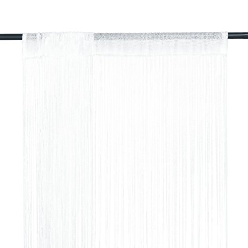 vidaXL Cortinas de Flecos 2 Piezas 140x250 cm Blancas Textil Decoración Hogar