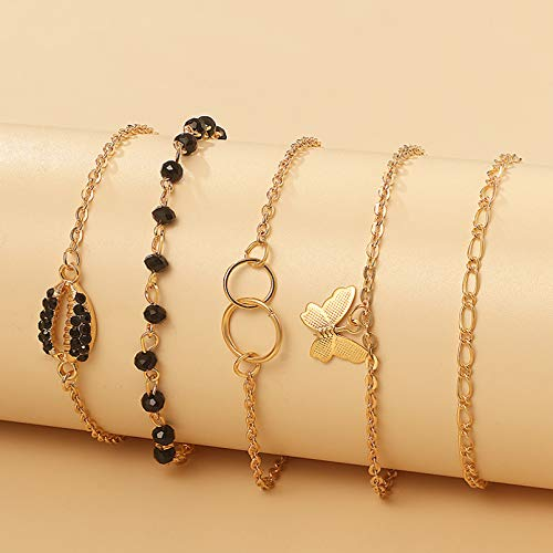 KUANGLANG 5Pcs/Sets Pretty Butterfly Bracelet Summer Shell Black Bead Gold Chain Geometric Adjustable Jewelry Accessories
