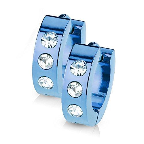 Bungsa© blaue CREOLEN mit KRISTALL-STEINEN SET - blaue EDELSTAHL Klappcreolen - Klapp-Ohrringe blau mit 3 gefassten klaren Steinen - für Damen & Herren - 1 Paar Blue Kristall Kreolen