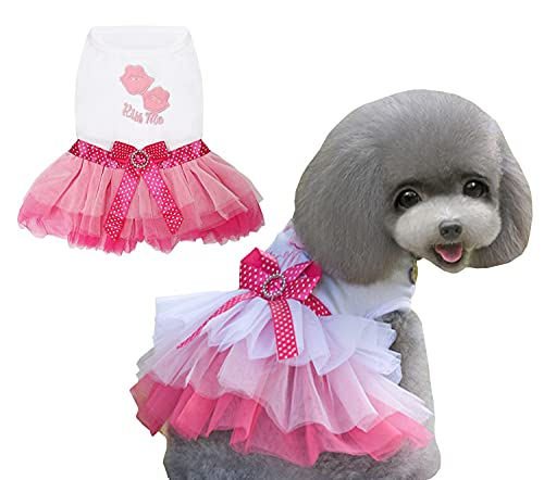Vestido para Perros Falda de Lujo para Cachorros Ropa para Perros Vestidos de Princesa Vestido de Novia Vestido con Lazo de Beso para Perros Pequeños