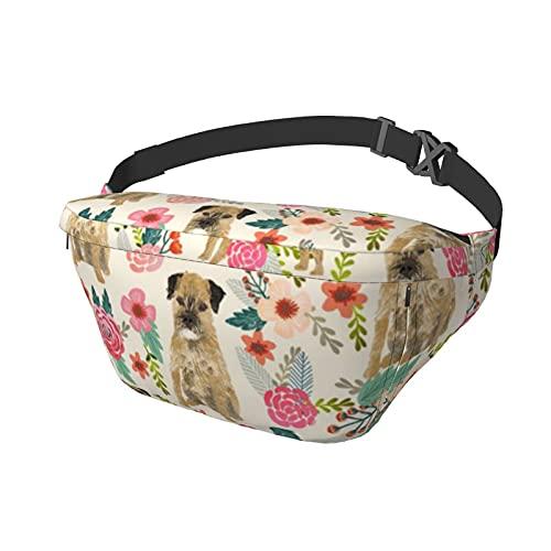 Border Terrier Florals Crema pecho Crossbody Sling Bag Mochila para viajes Deportes