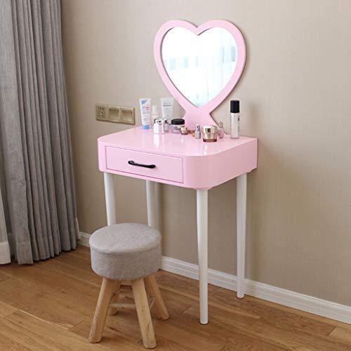Schminktische Moderner Make-up-Schreibtisch 60cm Aus Holz Mit Hockerspiegel Und Schublade Mädchen Schlafzimmermöbel, Pink