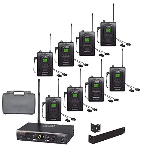 Audio2000'S AWM630CU UHF 100 Selectable Frequency Wireless in-Ear Monitor System with Eight Wireless Receivers and a PVC Carrying Case Nevada