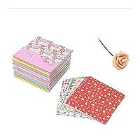 混合カラースクエア12種類のパターンペーパークラフト折り紙折りたたみ紙の花柄の紙 DIY.子供の贈り物