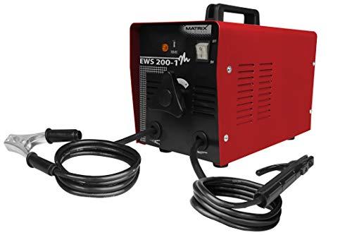 Matrix 170100016 EMS 200-1 Schweißgerät Elektro, 60-200 Ampere, Schutzklasse IP 21, Elektrodendurchmesser 2, 5-4mm, 20A Sicherung 7500 W, 400 Volt, 230 V, Rot/Schwarz