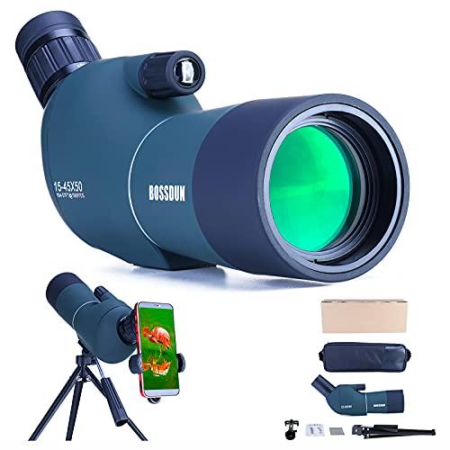 15-45x50 Telescopio Terrestre con Trípode, Bolsa de Transporte y Adaptador de Teléfono Inteligente para Turismo Safari Observación de Estrellas Tiro con Arco Camping Paisaje de Vida Silvestre