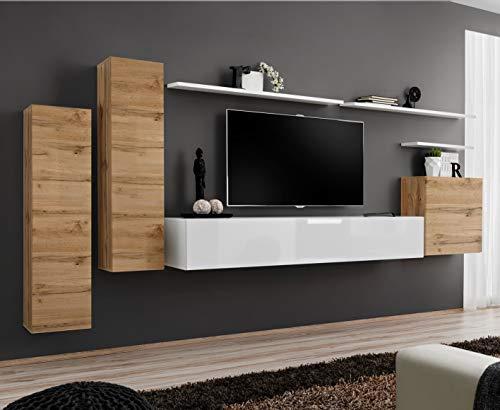 ASM BMF SWITCH I Wohnwand 330 cm breit TV Schränke Regale PUSH-CLICK Türen Wotan weiß Hochglanz