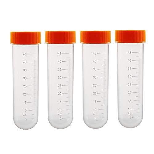 sourcing map 10 piezas de tubos de centrífuga de plástico de 50 ml con tapón de rosca naranja fondo redondo