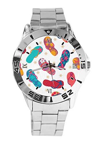 Cool Flip Flops zapatillas reloj de pulsera cuarzo plata dial clásico acero inoxidable banda de las mujeres reloj de los hombres