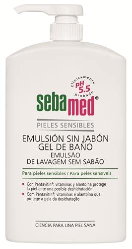 Sebamed - Emulsión sin jabón, gel de baño sin jabón, con pH 5.5 para garantizar la conservación del equilibrio hídrico de la piel, 1 litro
