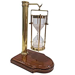Vintage Hanging Sand Timer with Wooden Stand Nautical Hourglass Desktop Accessory Old Sand Clock Table Decor
