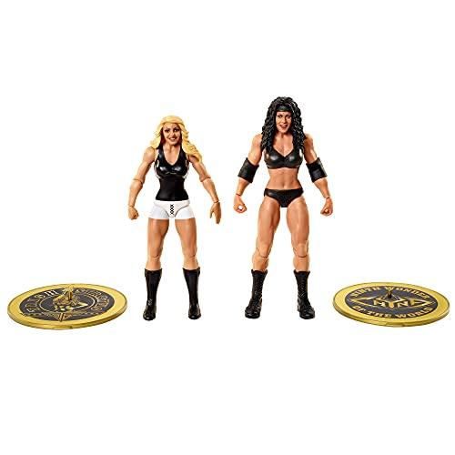 WWE Campeonato Pack 2 figuras de acción luchadoras Chyna y Trish Stratus con accesorios, juguete niños +6 años (Mattel GVJ25)