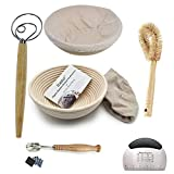 2 Pack of 10 Inch round Bread Banneton Proofing Basket French Style Artisan Sourdough Bread Basket Bakeware Set (Linen Liner Cloth + Bread Knife + Bread Lame + Dough Whisk+Basket Cleaning Brush)