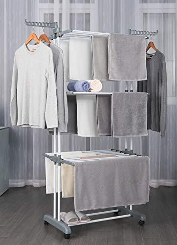 Talk-Point Mobiler Wäschetrockner- Turm, Wäscheständer | 3 Ebenen höhenverstellbar, klappbar (3 Ebenen grau)