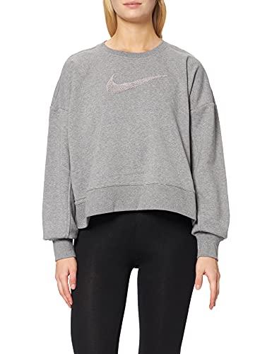 Nike W Nk Dry Get Fit Crew Swsh Top, Grigio Fumo/Grigio Fumo, L Donna