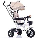 TZZ Bébé Tricycle, Pare-soleil réglable, avec tige de poussée et le frein du nourrisson d'absorption de choc poussette vélo, for tout-petits garçons/filles, 7 mois - 6 ans