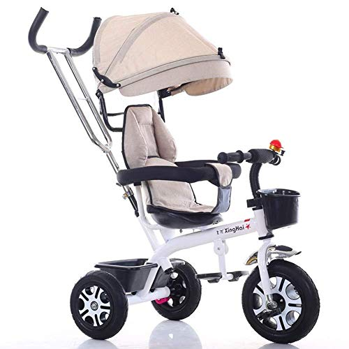 Best Bargain TZZ Baby Tricycle, Adjustable Canopy, with Push Rod and Brake Shock Absorption Infant S...