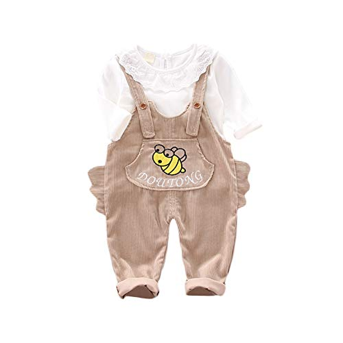 BOBORA Ensemble Bébé Fille, 2PCs Vêtements Bébé Filles Automne Hiver T-Shirt Chemise Blanche à Manches Longues + Salopette Pantalon Dinosaure en Coton pour 0-4Ans