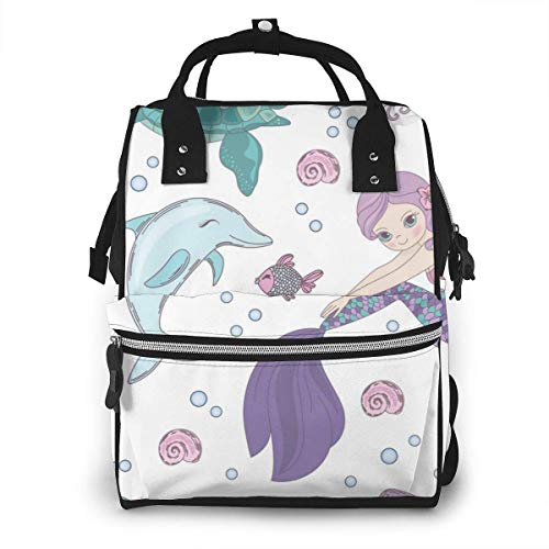 UUwant Sac à Dos à Couches pour Maman Large Capacity Diaper Backpack Travel Manager Baby Care Replacement Bag Nappy Bags Mummy BackpackUnderwater World Mermaid Seamless Pattern Vector Image