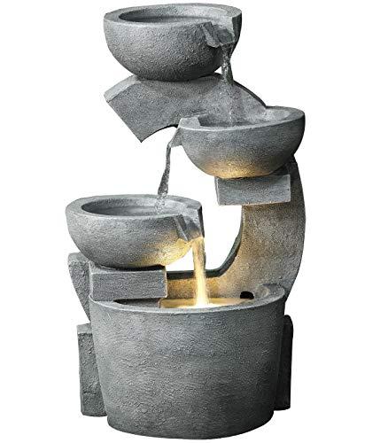 Dehner Gartenbrunnen Caserta mit LED Beleuchtung, ca. 72 x 41.5 x 37 cm, Polyresin, grau
