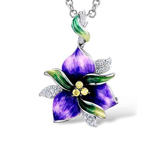 Ruby569y Pendientes colgantes para mujeres y niñas, con incrustaciones de diamantes de imitación de esmalte de flores, collar y pendientes de anillo, joyería de color morado