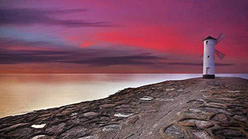 zhangshifa Puzzle 1000 sztuk, latarnia morska Stawa Młyny na Świnoujście, Polska naturalny krajobraz puzzle, puzzle dla dorosłych dzieci gra - 75 * 50 cm