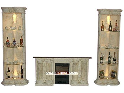 Antikes Wohndesign 2 x Standsäule Vitrine Eckvitrine beleuchtet Beige Höhe: 202cm