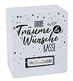 Holz Spardose weiß 15x13 cm - Wünsche Kasse für 4 Verschiedene Anlässe - Sparbüchse...