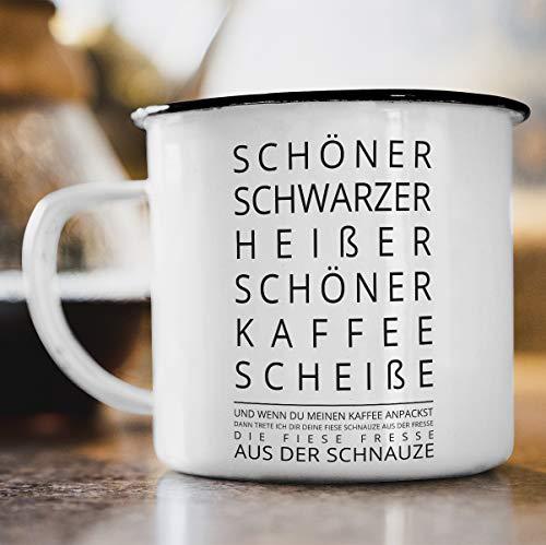 Nukular Emaille Tasse Schöner heißer schwarzer Kaffee Toller Becher für Kaffeeliebhaber