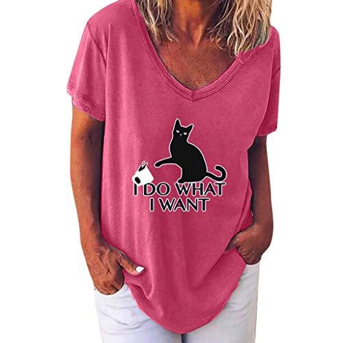 Shinehua T-shirt met korte mouwen voor dames, zomer, V-hals, losse shirt, bovenstuk, vleermuismouwen, blouses, korte mouwen, tuniek-shirts, casual, casual blousenshirt Medium roze