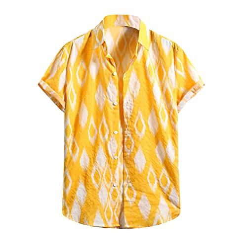 Camisa hawaiana para hombre, de verano, informal, con flores, manga corta, cuello en V, para el tiempo libre B_amarillo. M