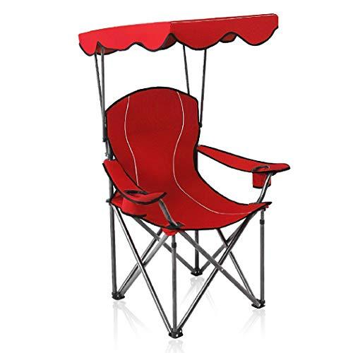 ALPHA CAMP Strandstuhl mit Sonnendach und Taschen, Kampierender Fischen-Garten-Stuhl Angelstuhl, Tragbarer Schatten-Überdachungs-Klappstuhl bis 150kg, Ideal für Camping Outdoor, Rot