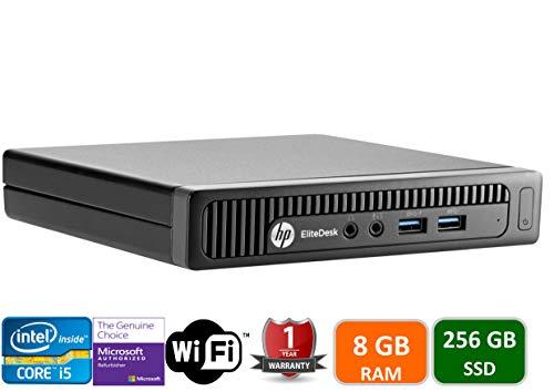 HP EliteDesk 800 G1 Tiny Computer Micro Tower PC, Intel Core i5-4590T, 8GB Ram, 256 GB SSD, WiFi, Windows 10 Pro (Renewed)