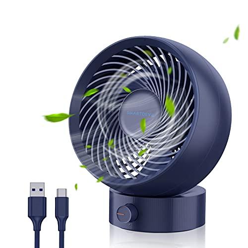 SmartDevil Desk Fan, USB Desk Fan, Desk Fan Silent, Stepless Speed Desk Desktop Fan Table Cooling Fan with USB-Powered, Strong Wind, Quiet Operation, for Home Office Bedroom (Navy Blue)