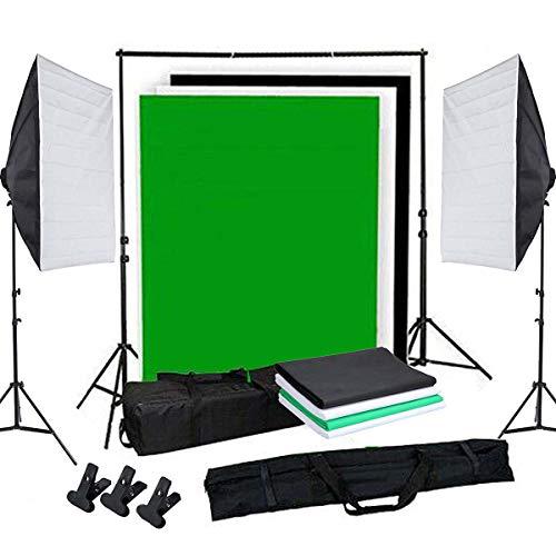 OUBO Profi Fotostudio Set Tageslichtlampe Studiosets Greenscreen Set Fotoleinwand Hintergrund inkl. 50 * 70cm Dauerlicht Softbox 4X Hintergrundstoff(Schwarz, weiß*2, grün)...