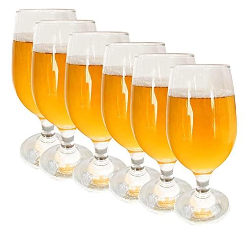 Copas Cerveza 37 cl. Pack de 6 Unidades. Vaso de Cristal para Cocktails y Combinados. Vaso para Tercio.