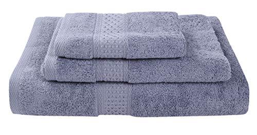 CHOSERL Juego de 3 toallas de algodón para baño, 1 toalla de baño, 1 toalla de mano y 1 paño (azul, gris, talla única)
