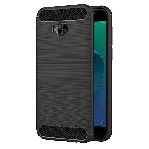 MaiJin Hülle für Asus ZenFone 4 Selfie Pro ZD552KL (5,5 Zoll) Elastisch Stylisch Soft Flex TPU Silikon Handyhülle Schutz vor Stürzen & Stößen Schutzhülle (Schwarz)