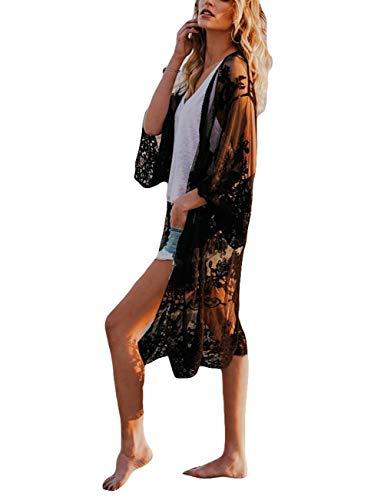 Bsubseach Damen Schwarz Sexy Spitze Langarm Bademode Bestickt Strand Kimono Strickjacke Bikini Cover Up