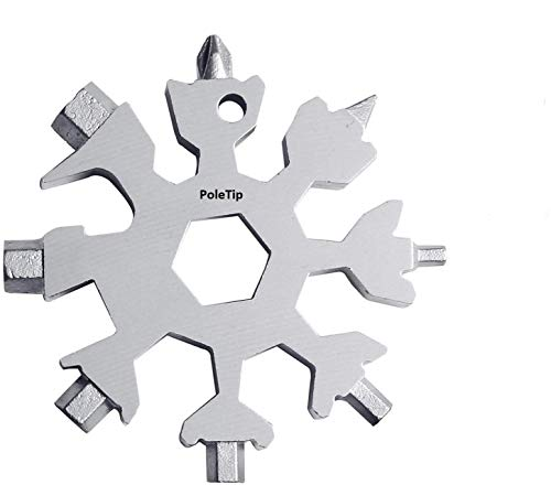 Pole Tip 18 in 1 Snowflake Multi Tool Gifts Gadget Gifts for Men and Women Portable Stainless Steel Multi Tool Snowflake Adventure Tools for Men Gifts Gerber Multi Tool Birthday Gifts for HimSilver