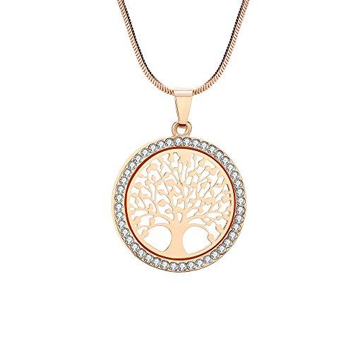 Collana per Donna, Collana Ciondolo Albero della Vita per Bambina Collana in Oro Rosa o Argento con Cristallo (Placcato Oro)
