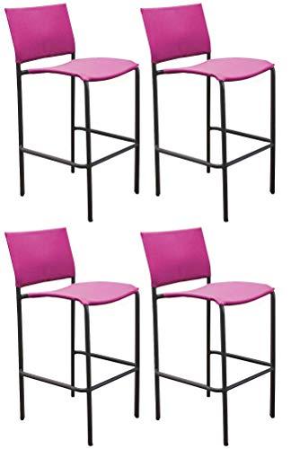 Proloisirs Chaise de Bar en Acier et Toile Globe (Lot de 4)