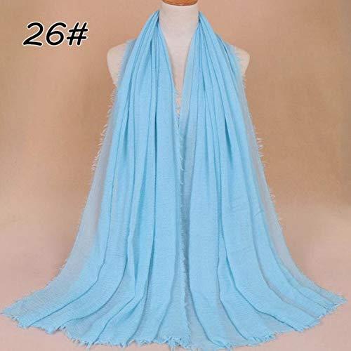 MYSdd Turbante Hijab Moda Bufanda Color sólido Damas algodón Arrugado Tejido Liso Abrigo Espuma Bufanda Larga Mujer Chal - 26,95x180