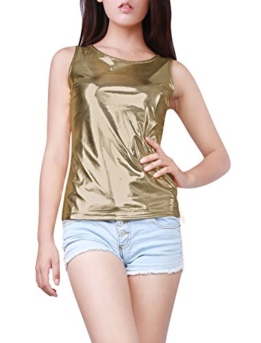 Allegra K Women's U Neck Stretchy Slim Fit Shiny Sparkly Metallic Tank Top Light Gold L (US 14)