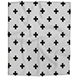 HOSNYE Crosses Kids Plush Fleece Throw Blanket Cross Monochrome Black and White Blanket for Bed Couch Sofa Chair Travel 40x50 Inches