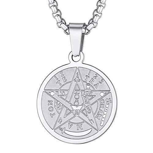Colar de pentagrama U7, corrente de aço inoxidável com símbolo do talismã antigo, pingente de pentagrama mágico para homens e mulheres, corrente de 56 cm + extensor de 5 cm